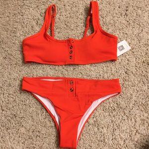 Orange Ribbed Button Down Bikini